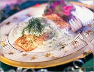 Simple salmon with dill sauce